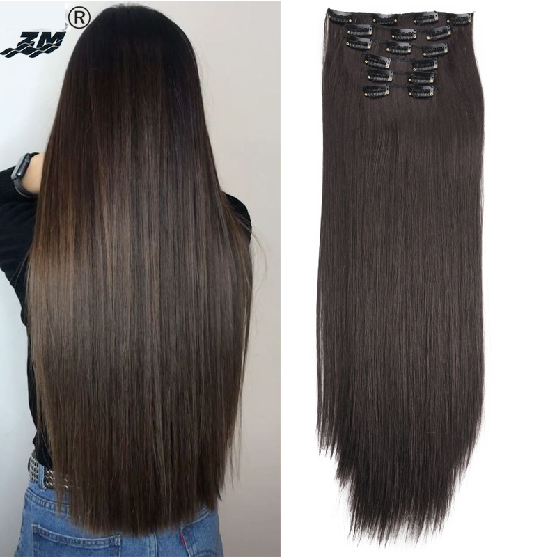 "ZM 6pcs/set 22"" 16 clips Long Straight Synthetic Hair Extensions Clips ins Black Brown Blonde Hairpiece High Temperature Fiber"