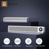 Youpin BINNIFA-Barra de escritorio para ordenador, Altavoz Bluetooth, altavoces duales, micrófono de transmisión de juegos, auriculares externos con efecto de luz