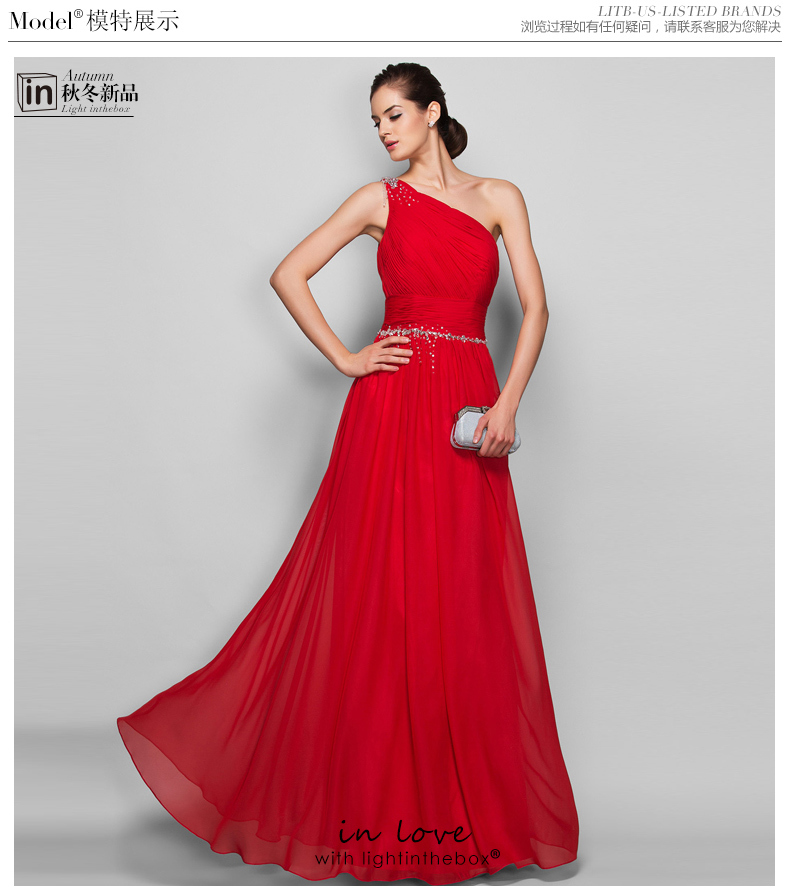 Free Shipping Robe De Soiree 2016 New Red Long One Shoulder Crystal Vestido De Festa Longo Party Formal Gown Evening Dresses
