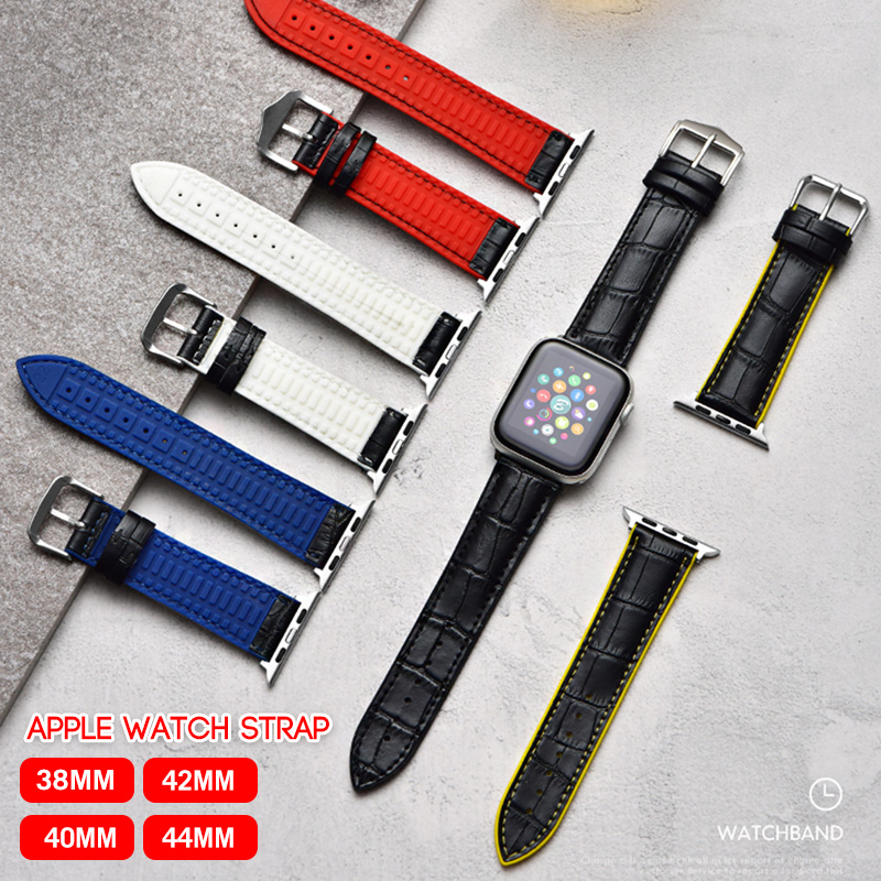 Band for iWatch leather bracelet 38MM 40MM <font><b>42MM</b></font> 44MM <font><b>correa</b></font> <font><b>Apple</b></font> <font><b>watch</b></font> series 5 4 <font><b>3</b></font> 2 1 silicone wrist strap Accessories image