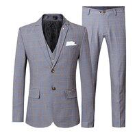 3 Pieces Plaid Men Suits Slim Fit Suit Jacket Vest Pant Wedding Suits for Men Checkered Banquet Prom Social Dress Suit Male