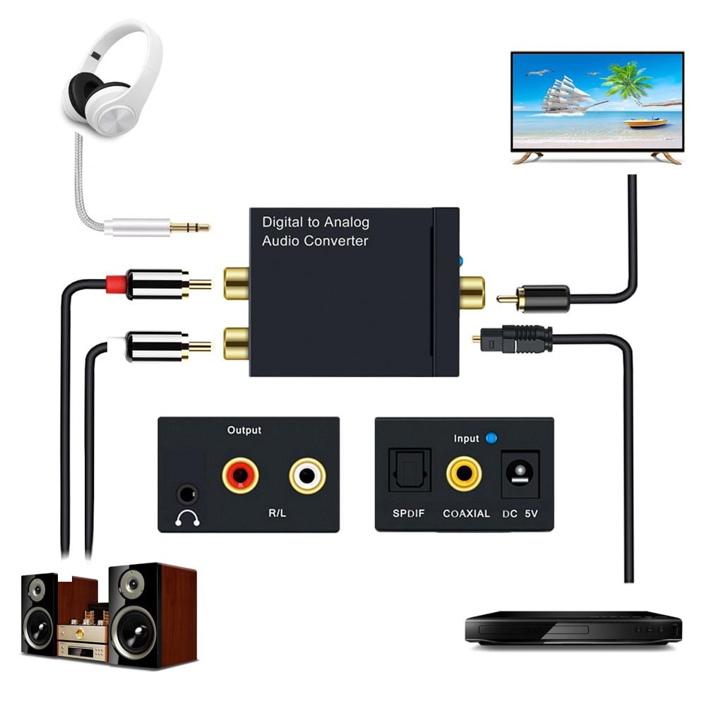 Digital Audio Adapter Coaxial Optical Fiber Toslink To Analog L/R RCA To 3.5 Jack Audio Converter Digital SPDIF Stereo Splitter