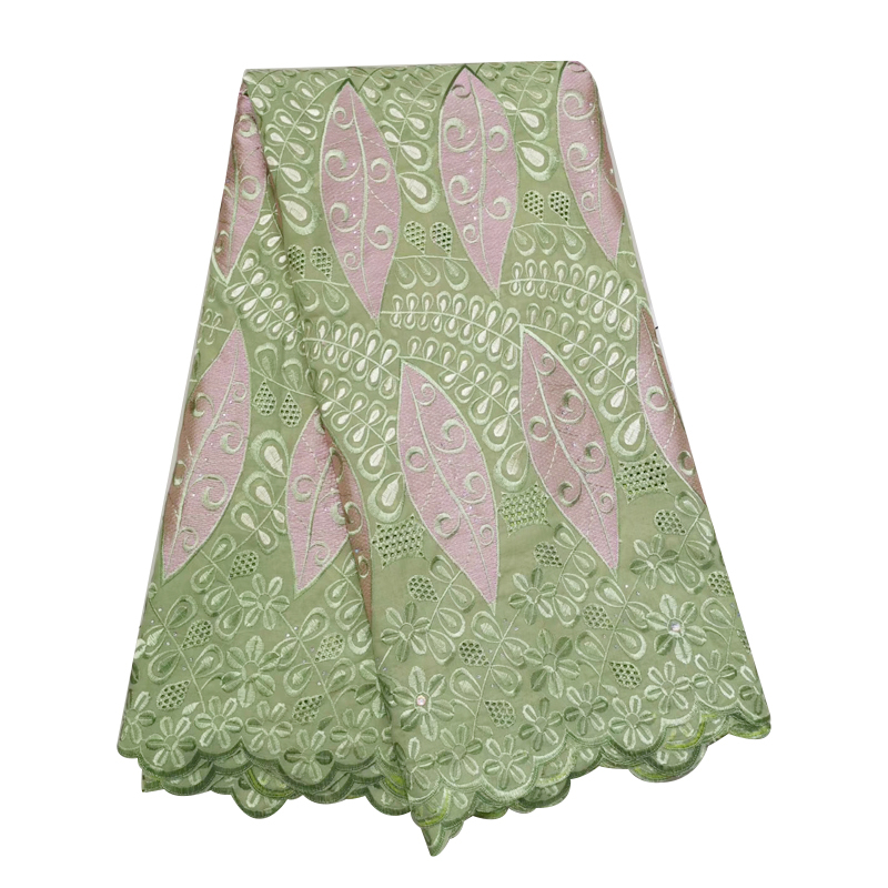 Latest Green George African Lace Fabric 2020 High Quality Beaded 5yards Embroidered Nigerian Lace Fabrics For Bridal Party Dress