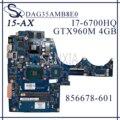 KEFU DAG35AMB8E0 материнская плата для ноутбука HP OMEN 15-AX оригинальная материнская плата I7-6700HQ GTX960M-4GB/2 ГБ 856678-601