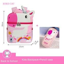 Kid Unicorn Backpack Cute 3D Cartoon Dinosaur Anti-lost Printed Kindergarten orthopedic School Bag for Girl Boy Children Mochila