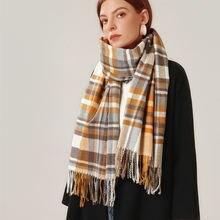 2020 вязаный весенне зимний женский шарф клетчатые теплые кашемировые
