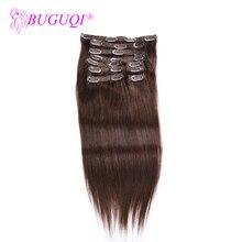 BUGUQI заколки для волос человеческие волосы для наращивания бразильские#4 Remy 16-26 дюймов 100 г волосы для наращивания