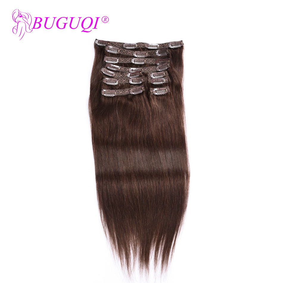BUGUQI Hair Clip In Human Hair Extensions Brazilian #4 Remy 16- 26 Inch 100g Machine Made Clip Human Hair Extensions