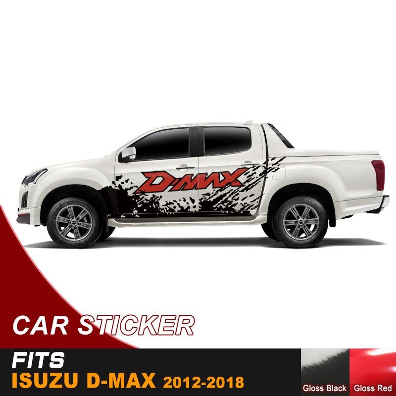 Voiture carrosserie autocollant boue voiture autocollant boue graphique vinyle autocollant sale marqué décalcomanie pour isuzu dmax 2012-2017 cabine équipage