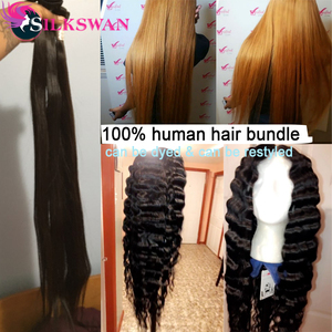 Image 2 - Silkswan extensiones de cabello humano liso con Frontal, 13x4, encaje marrón, Frontal, brasileño, Remy