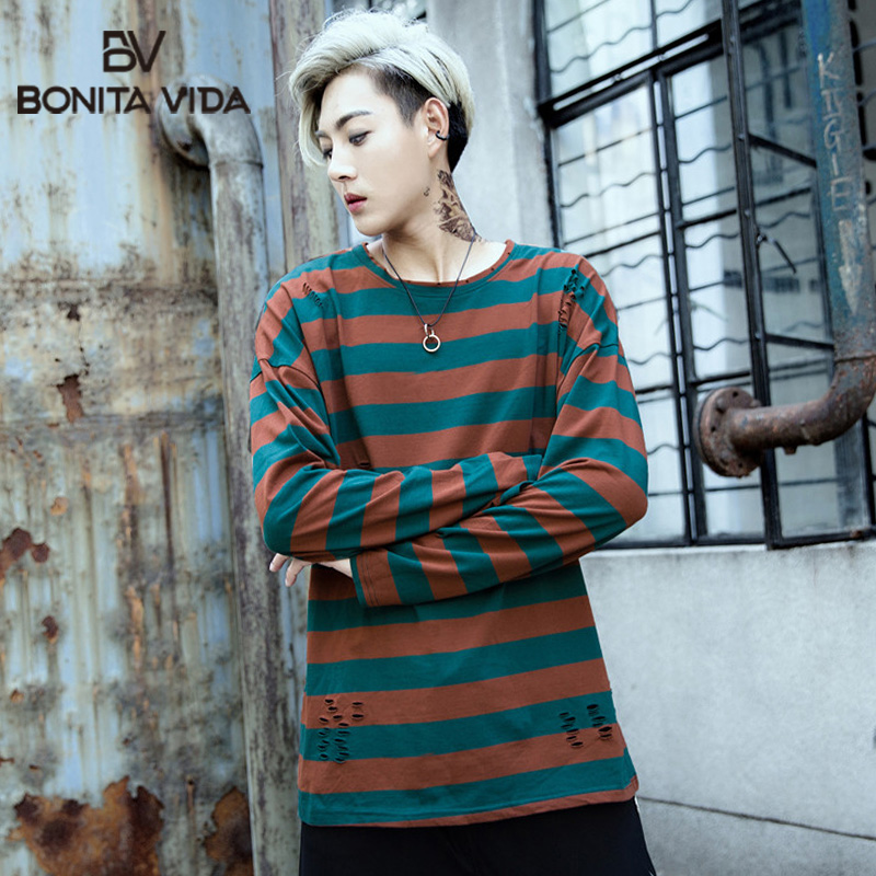 Bonita Vida Striped Pullover Long T-Shirts Men's 2019 Fashion O Neck Hole Hip Hop Casual Cotton Tops Tee Streetwear Men T Shirts
