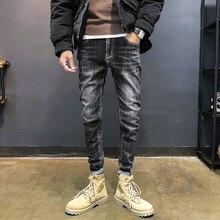 Autumn Jeans Men Stretch Slim Fashion Washed Solid Color Casual Denim Pants Men Streetwear Hip Hop Jean Trousers Male Clothes цена