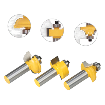 """Hot 3PCS Glass Door Router Bit Kitchen Cabinet Doors Round Over Bead 1/2"""" Shank 1/2"""" Blade Wood Cutter for Wood Drilling"""