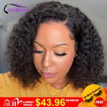 Короткие кудрявые парики 13x4 Синтетические волосы на кружеве парики из натуральных волос для Для женщин предварительно выщипанные волосы клюквы, несекущиеся бразильские кружева Закрытие парик