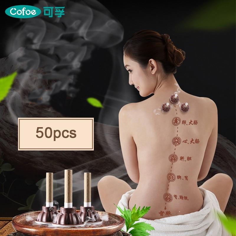 Cofoe 50pcs/Set Moxa Moxibustion Stick Smokeless Roll Mini Self-adhesive Acupuncture Massage Sticker Artemisia Box Holder Roller