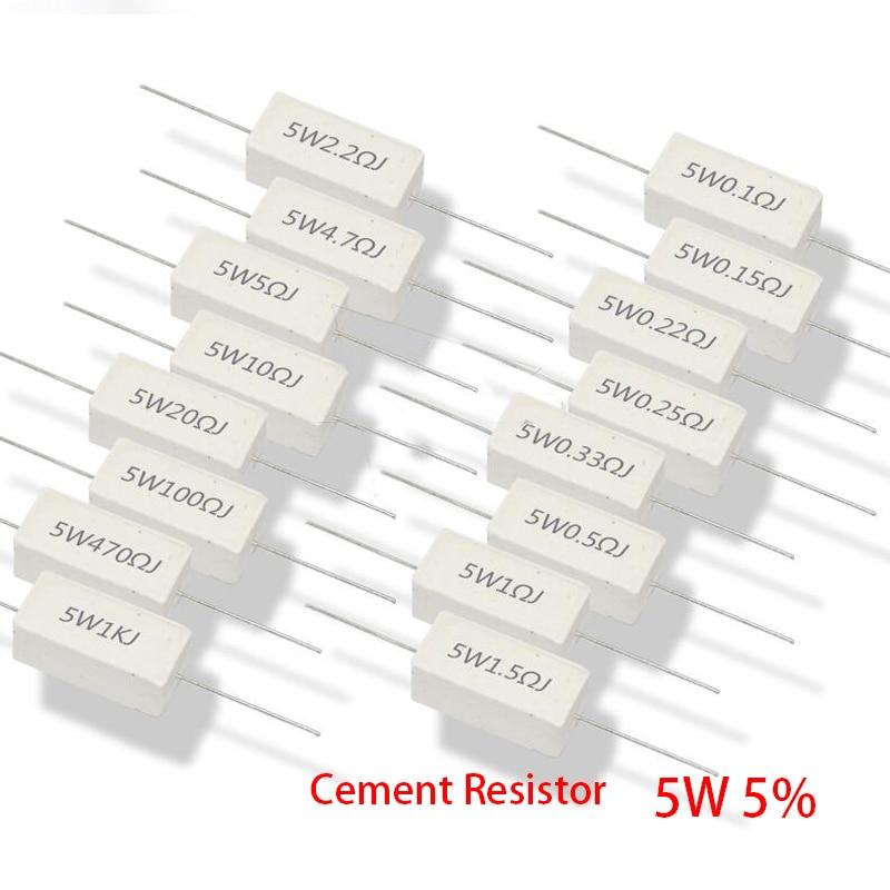 Цементный резистор 5 Вт 5%, сопротивление мощности 0,1 ~ 10K 0.1R 0.5R 1R 10R 100R 0,22 0,33 0,5 1 2 5 8 10 15 20 25 30 100 1K 10 кОм, 10 шт.