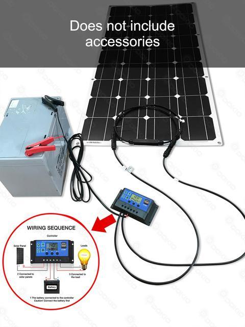Dokio Flexible Solar Panel 100W Monocrystalline Solar Cell 200w 400w 600w 800W 1000W Solar Panel Kit For RV/Boat/Home system 4