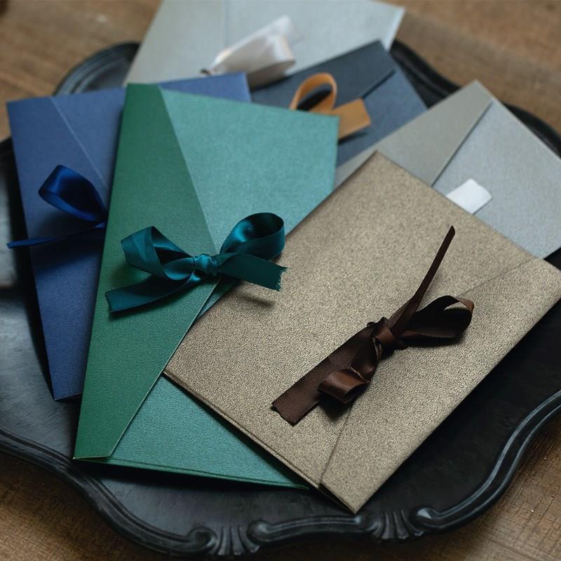 10pcs/lot Vintage Ribbon Pearl Paper Envelopes 12 Colors Kraft Envelope For Wedding Invitation Envelope Gift Envelope