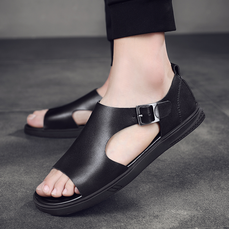 Men Casual Sandals Outdoor Beach Classic Leather Slip On Male Flat Breathable Fashion Sandals Black Mens Summer Sandals Men