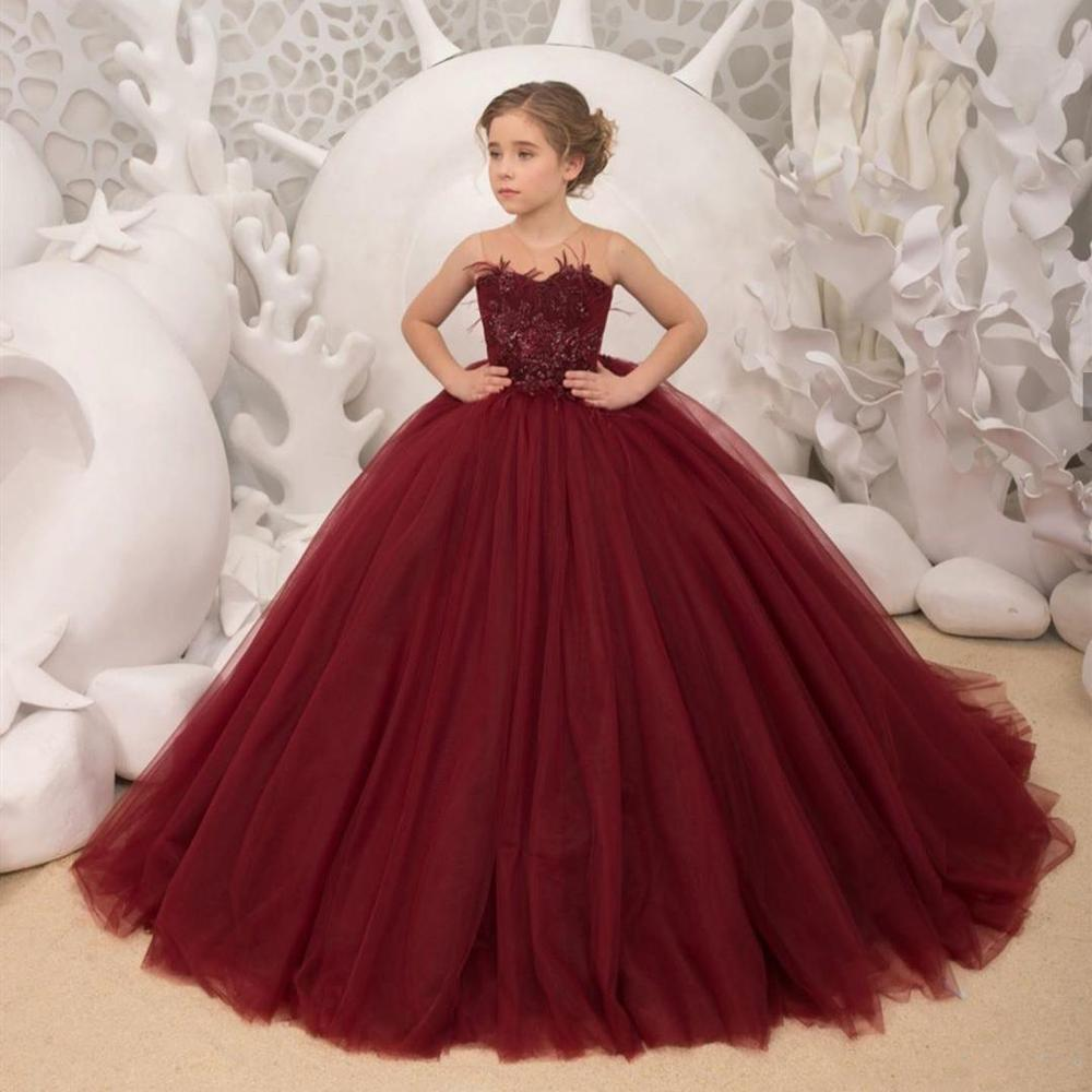 Burgundy Flower Girl Dresses 2020 Christmas Communion Dresses For Girls Ball Gown Wedding Party Dress Kids Evening Prom Dress