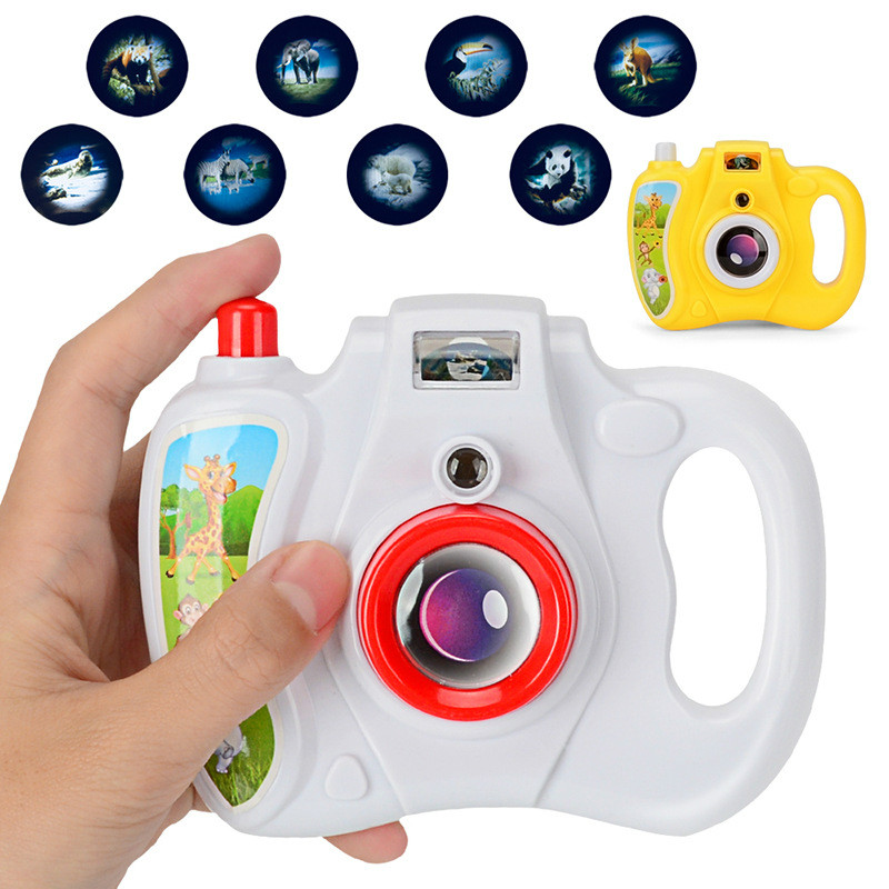 Children'S Camera Children'S Cartoon Projection Camera Toy Eight Lighting Patterns Hand Pressing Projection Camera Spreading Toy
