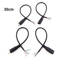 5 pces micro usb 2.0 uma fêmea jack interface android 4 pinos 2 pinos macho fêmea cabo de carga de dados de alimentação conector 30cm