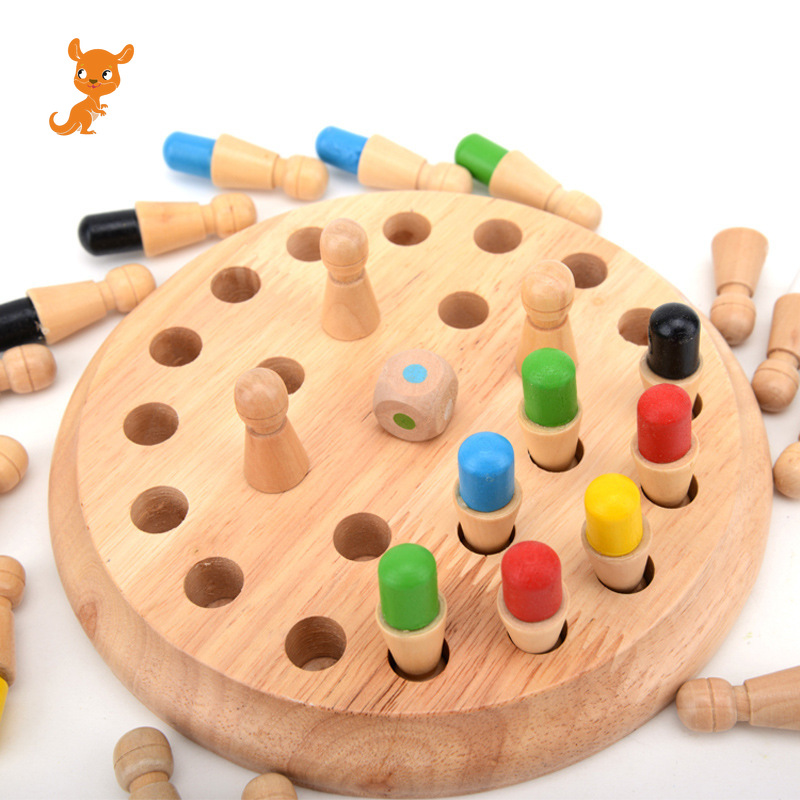Children's Wooden Puzzle Board Game Color Memory Chess Piece Memory Development Parent-child Games