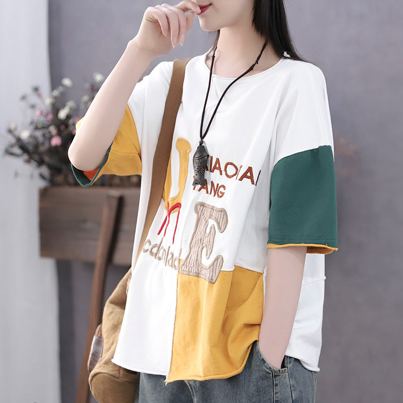 2020 Summer New <font><b>Arts</b></font> Style Women Short Sleeve Loose Cotton <font><b>Tshirt</b></font> Letter Embroidery Patchwork Tee Shirt Femme Casual Tops S752 image