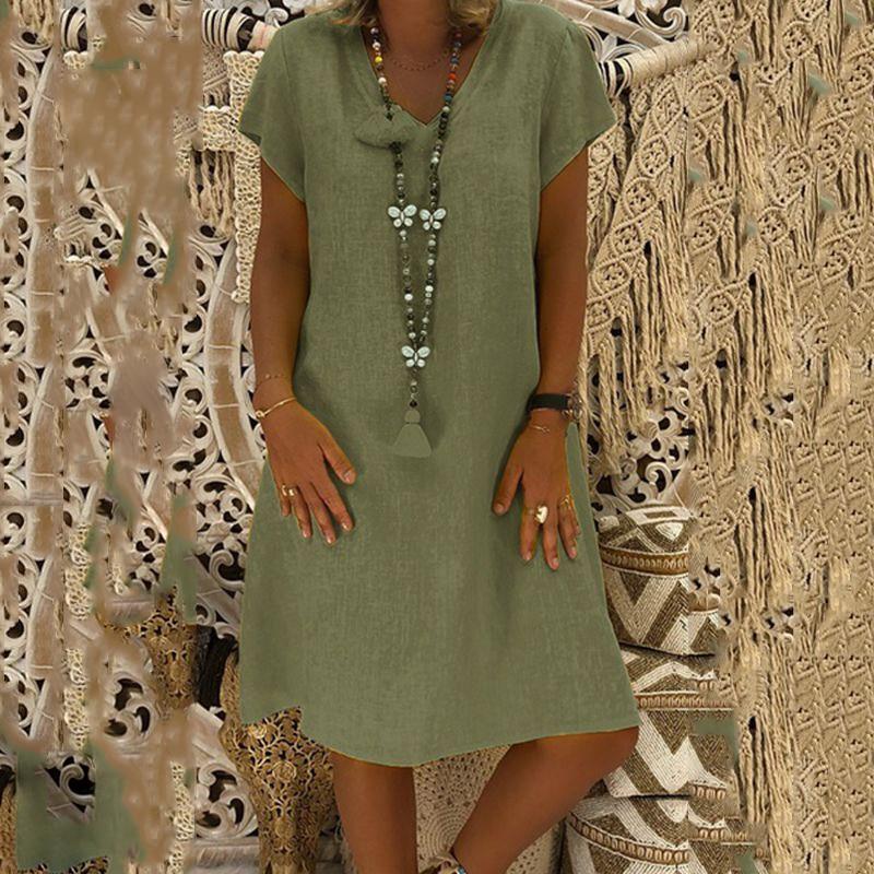Women Short Sleeve Mid-dress Autumn Summer V-Neck Dress Cool Beach Edge Dress Sweet Style