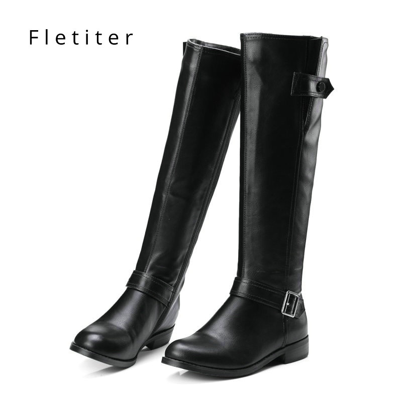 Genuine leather knee high winter boots