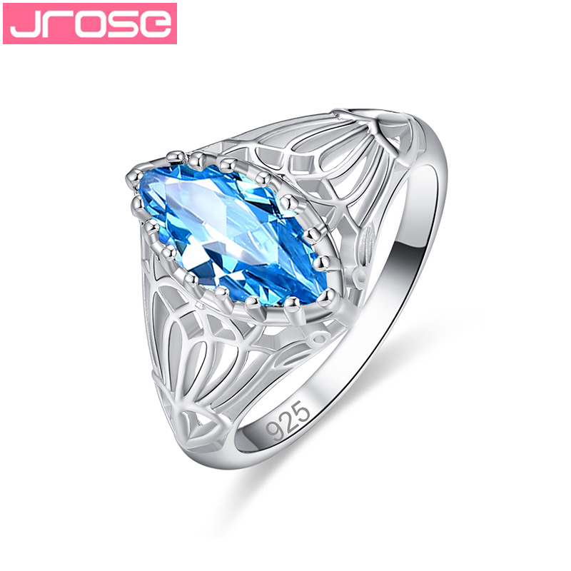 JROSE Wholesale Marquise Cut Engagement Wedding Band Style Green Blue Cubic Zirconia Silver Ring For Women Size 6- 13 Jewelry
