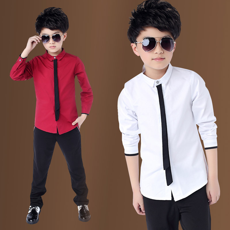Boy's Red Shirts Spring 2019 Classic Solid White Tops Cotton Long Sleeve Shirt for 4-14Yrs Autumn Kids Clothes