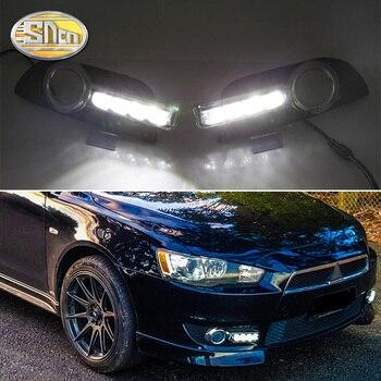 2PCS LED Daytime Running Light For Mitsubishi Lancer 2009 - 2014 Yellow Turn Signal Function 12V Car DRL Fog Lamp Decoration
