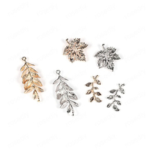 6PCS 24K Gold Color Plated Brass Tree Leaf Leaves Charms Pendants Diy Jewelry Findings Earrings Accessories Wholesale
