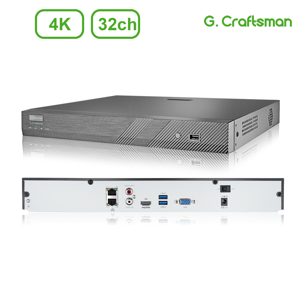 32ch 4K NVR H.265 Onvif Network Video Recorder System 2HDD 24/7 Recording IP Camera P2P Guard Viewer Support Mac G.Craftsman