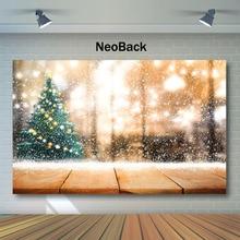 NeoBack Christmas Backdrop Decor Tree Bokeh Photography Backdrops Newborn Baby Kids Wooden Floor Background Photograph