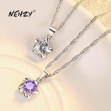 NEHZY – collier en argent Sterling 925 pour femme, pendentif en cristal Zircon de haute qualité, fleur de prunier, longueur 45CM, nouvelle collection