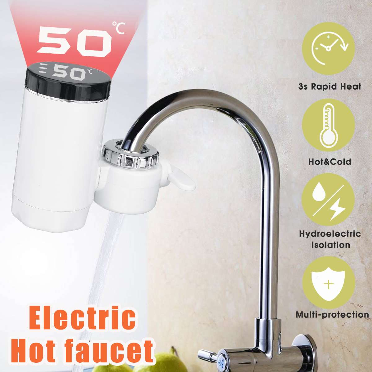 220V Electric Kitchen Water Heater Tap 3000W LCD Display Instant Hot Water Faucet Cold Heating Faucet Water Heater