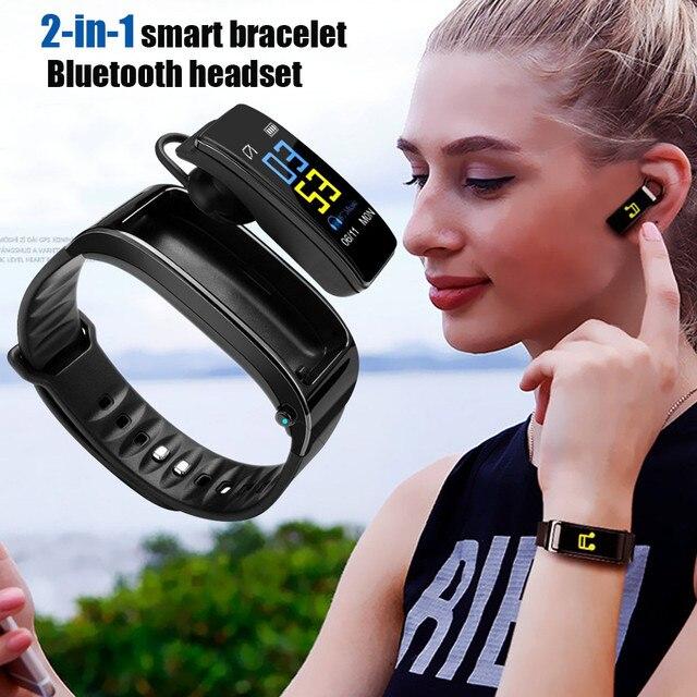 Çok fonksiyonlu 2 In 1 akıllı bilezik ile Bluetooth kulaklıklar kalp hızı monitörü su geçirmez izle açık spor uyku