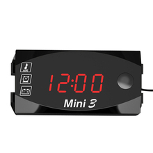 Многофункциональный 6 V-30 V 3 в 1 цифровой светодиодный Дисплей вольтметр мотоцикл электрический Водонепроницаемый термометр счетчик времени