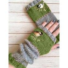 Rękawiczki Bez Palców damskie zimowe Rękawiczki z dzianiny ciepłe oraz aksamitne haftowane outdoorowe patchworkowe Rękawiczki dla ptaków Bez Palców