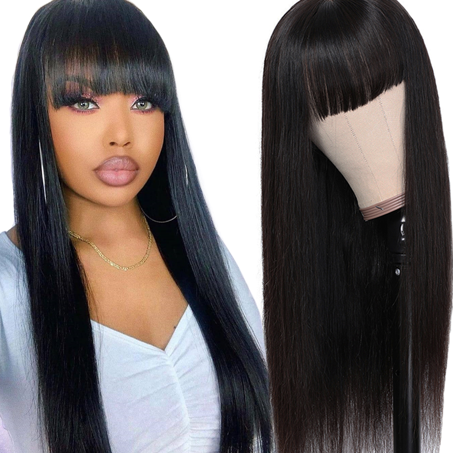 Human Hair Wigs With Bangs Wig With Bangs Human Hair Brazilian Straight Hair Wigs For Black Women Dorisy Non Remy Hair Wig