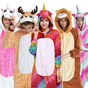 Flannel Kigurumi adult Animal pijama Unicorn pajamas Women Cosplay pyjama Totoro Stitch Onsie Homewear Sleepwear Party Christmas(China)