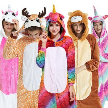 Flannel Kigurumi adult Animal pijama Unicorn pajamas Women Cosplay pyjama Totoro Stitch Onsie Homewear Sleepwear Party Christmas - DISCOUNT ITEM  41 OFF Underwear & Sleepwears