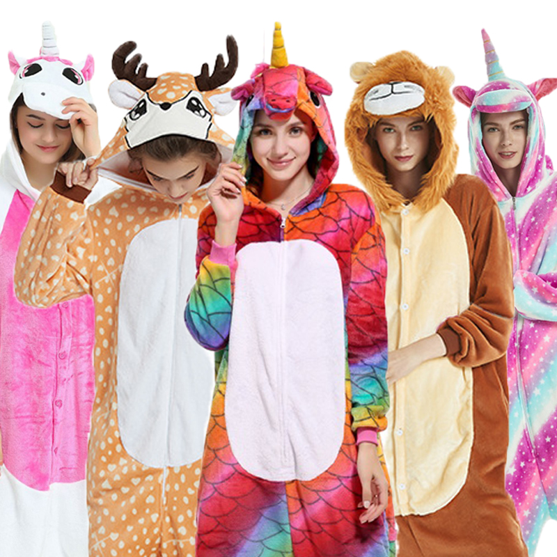 Flannel Kingurumi Adult Animal Pijama Unicorn Pajamas Women Cosplay Kigurumi Pyjama Totoro Stitch Onsie Homewear Sleepwear Party