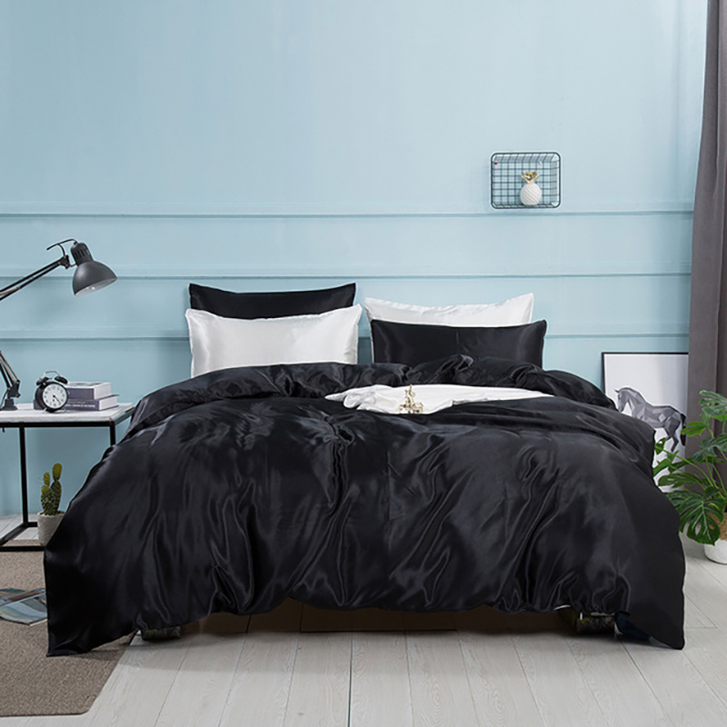 2/3/4 Pcs Silk Satin Bedding Set Duvet Cover Solid Color Bed Sets Covering Queen With Pillowcase Quilt Mattress Cover Bedclothes