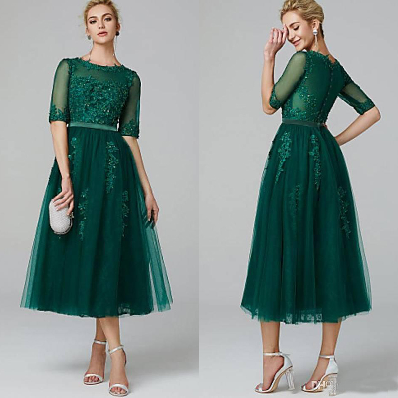 Elegant A-Line Illusion Neck Tea Length Cocktail Dresses Beading Appliques Lace Dark Green Special Occasion Short Prom Gowns