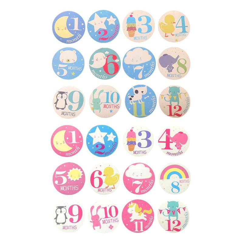 12pcs Baby Month Sticker Newborn Monthly Memories Number Card Number Photograph Sticker Props