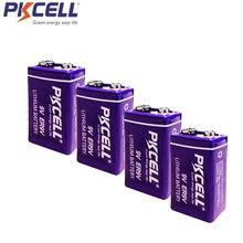4 pièces PKCELL ER9V batterie 1200mAh 9V Li SOCl2 Batteries au Lithium Baterias pour détecteur de fumée GPS 6LR61 6F22 thermomètre électronique