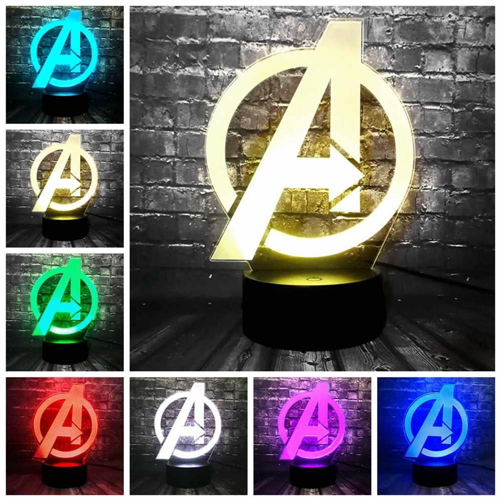Marvel herói infinito guerra tema lâmpada homem de ferro capitão américa thanos led night light ilusão lâmpada de mesa lâmpada aniversário do miúdo presentes